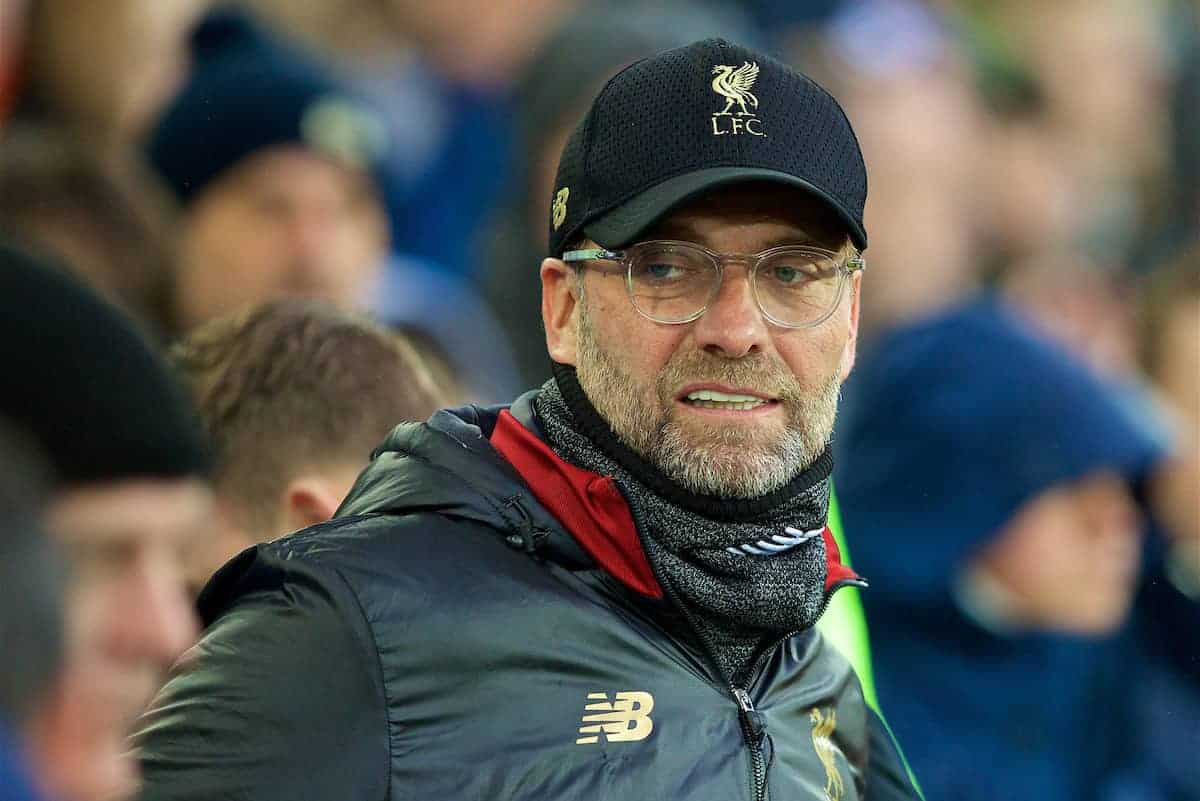 LIVERPOOL, ENGLAND - Sunday, March 3, 2019: Liverpool's manager Jürgen Klopp before the FA Premier League match between Everton FC and Liverpool FC, the 233rd Merseyside Derby, at Goodison Park. (Pic by Paul Greenwood/Propaganda)