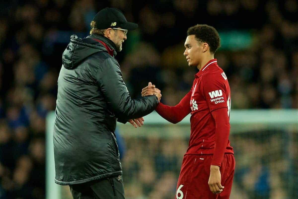LIVERPOOL, ENGLAND - Sunday, March 3, 2019: Liverpool's manager J¸rgen Klopp shakes hands with Trent Alexander-Arnold after the goal-less draw during the FA Premier League match between Everton FC and Liverpool FC, the 233rd Merseyside Derby, at Goodison Park. (Pic by Paul Greenwood/Propaganda)