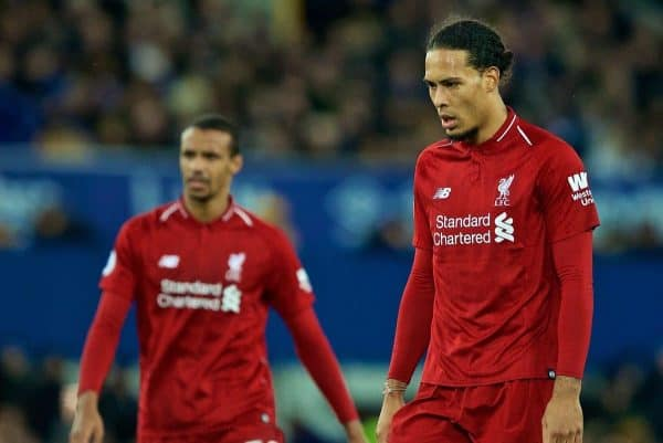 LIVERPOOL, ENGLAND - Sunday, March 3, 2019: Liverpool's Virgil van Dijk (R) and Joel Matip (L) look dejected after the goal-less draw during the FA Premier League match between Everton FC and Liverpool FC, the 233rd Merseyside Derby, at Goodison Park. (Pic by Paul Greenwood/Propaganda)