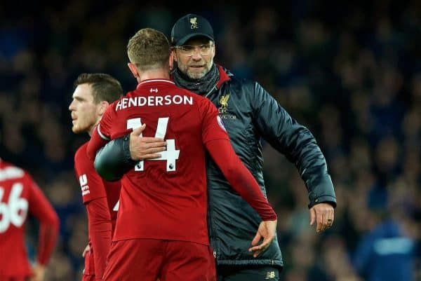 LIVERPOOL, ENGLAND - Sunday, March 3, 2019: Liverpool's manager Jürgen Klopp embraces captain Jordan Henderson after the goal-less draw during the FA Premier League match between Everton FC and Liverpool FC, the 233rd Merseyside Derby, at Goodison Park. (Pic by Paul Greenwood/Propaganda)