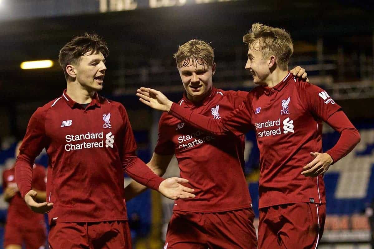 BURY, ENGLAND - Wednesday, March 6, 2019: Liverpool's Jake Cain (R) celebrates scoring the second goal with team-mates Bobby Duncan (L) and captain Paul Glatzel (C) during the FA Youth Cup Quarter-Final match between Bury FC and Liverpool FC at Gigg Lane. (Pic by David Rawcliffe/Propaganda)