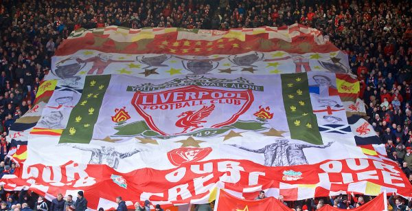 LIVERPOOL, ENGLAND - Saturday, March 9, 2019: Liverpool supporters' banner on the Spion Kop before the FA Premier League match between Liverpool FC and Burnley FC at Anfield. (Pic by David Rawcliffe/Propaganda)
