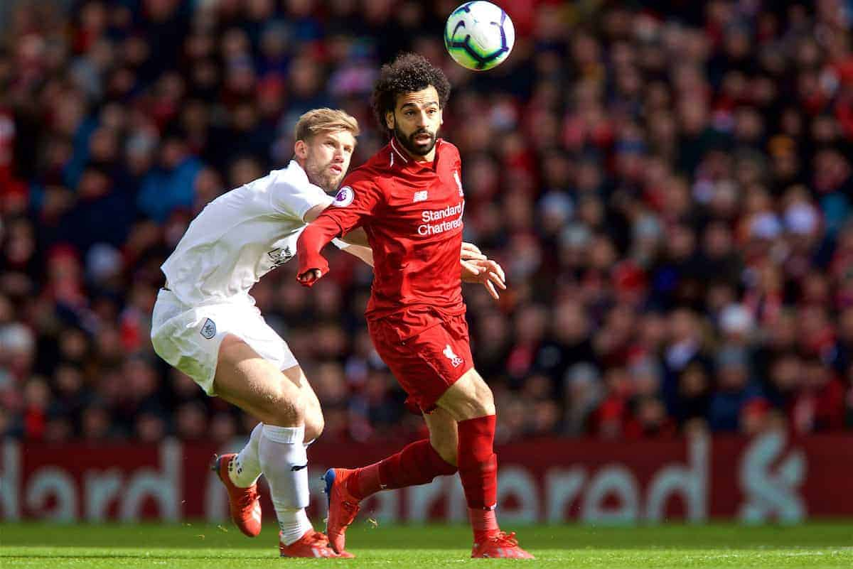 LIVERPOOL, ENGLAND - Saturday, March 9, 2019: Liverpool's Mohamed Salah during the FA Premier League match between Liverpool FC and Burnley FC at Anfield. (Pic by David Rawcliffe/Propaganda)