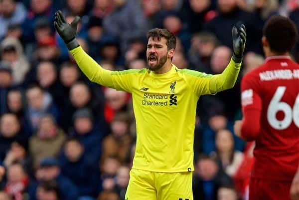 LIVERPOOL, ENGLAND - Saturday, March 9, 2019: Liverpool's goalkeeper Alisson Becker looks dejected after the referee refused to award a foul leading to Burnleyís opening goal during the FA Premier League match between Liverpool FC and Burnley FC at Anfield. (Pic by David Rawcliffe/Propaganda)