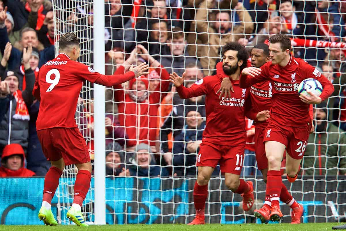 LIVERPOOL, ENGLAND - Saturday, March 9, 2019: Liverpool's Roberto Firmino celebrates scoring the first equalising goal with team-mates during the FA Premier League match between Liverpool FC and Burnley FC at Anfield. (Pic by David Rawcliffe/Propaganda)