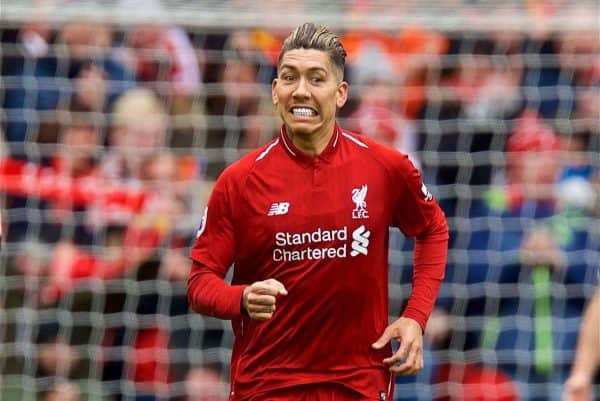 LIVERPOOL, ENGLAND - Saturday, March 9, 2019: Liverpool's Roberto Firmino celebrates scoring the first equalising goal during the FA Premier League match between Liverpool FC and Burnley FC at Anfield. (Pic by David Rawcliffe/Propaganda)