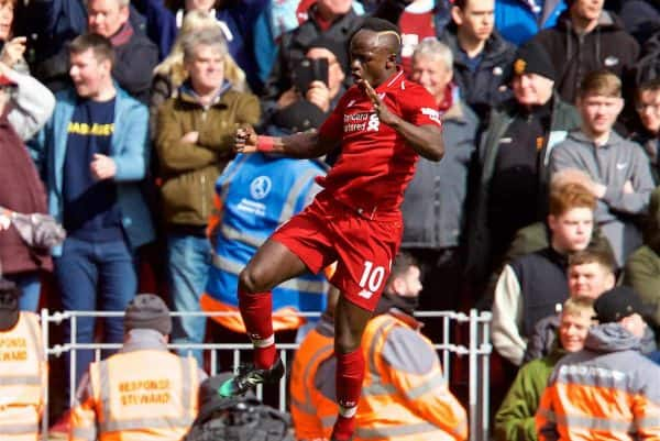 LIVERPOOL, ENGLAND - Saturday, March 9, 2019: Liverpool's Sadio Mane celebrates scoring the second goal during the FA Premier League match between Liverpool FC and Burnley FC at Anfield. (Pic by David Rawcliffe/Propaganda)