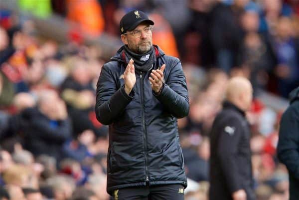 LIVERPOOL, ENGLAND - Saturday, March 9, 2019: Liverpool's manager Jürgen Klopp during the FA Premier League match between Liverpool FC and Burnley FC at Anfield. (Pic by David Rawcliffe/Propaganda)