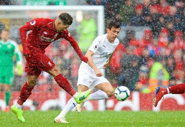 LIVERPOOL, ENGLAND - Saturday, March 9, 2019: Liverpool's Roberto Firmino during the FA Premier League match between Liverpool FC and Burnley FC at Anfield. (Pic by David Rawcliffe/Propaganda)