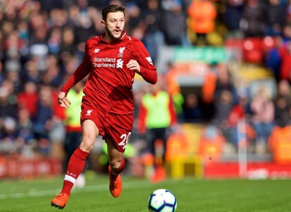 LIVERPOOL, ENGLAND - Saturday, March 9, 2019: Liverpool's Adam Lallana during the FA Premier League match between Liverpool FC and Burnley FC at Anfield. (Pic by David Rawcliffe/Propaganda)