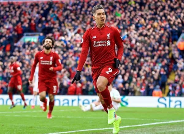 LIVERPOOL, ENGLAND - Saturday, March 9, 2019: Liverpool's Roberto Firmino celebrates scoring the third goal during the FA Premier League match between Liverpool FC and Burnley FC at Anfield. (Pic by David Rawcliffe/Propaganda)