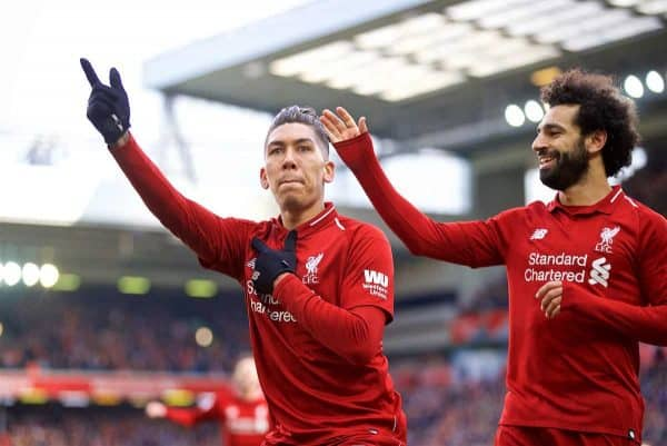 LIVERPOOL, ENGLAND - Saturday, March 9, 2019: Liverpool's Roberto Firmino celebrates scoring the third goal with team-mate Mohamed Salah during the FA Premier League match between Liverpool FC and Burnley FC at Anfield. (Pic by David Rawcliffe/Propaganda)