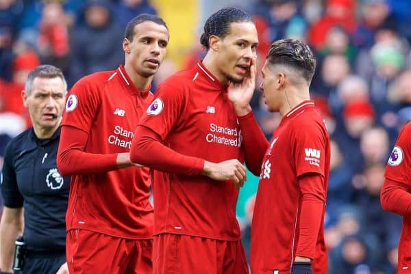 LIVERPOOL, ENGLAND - Saturday, March 9, 2019: Liverpool's captain Virgil van Dijk (C) speaks with Roberto Firmino (R) and Joel Matip looks on (L) during the FA Premier League match between Liverpool FC and Burnley FC at Anfield. (Pic by David Rawcliffe/Propaganda)