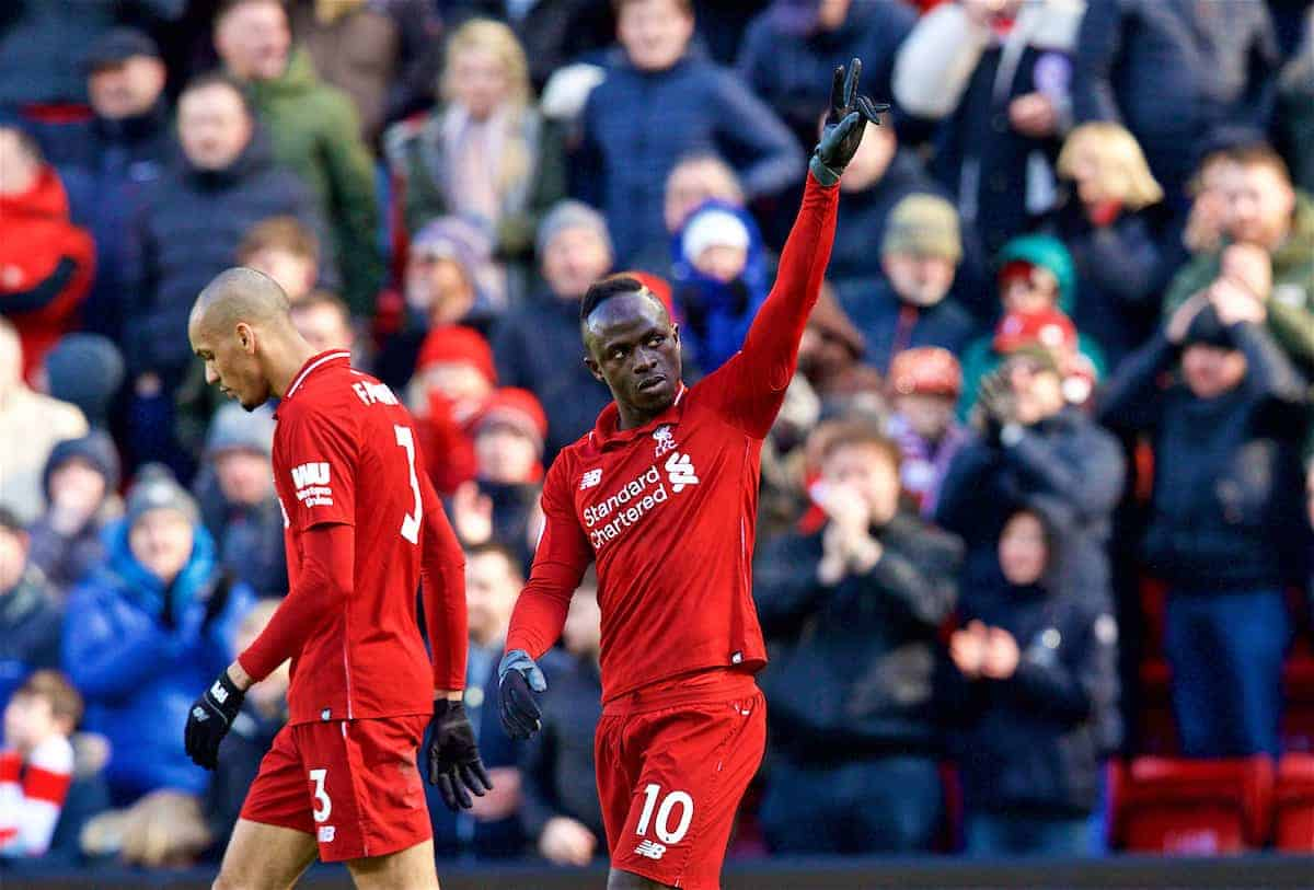 Liverpool's Sadio Mane celebrates scoring the fourth goal during the FA Premier League match between Liverpool FC and Burnley FC at Anfield. (Pic by David Rawcliffe/Propaganda)