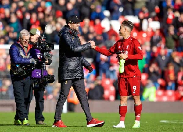 LIVERPOOL, ENGLAND - Saturday, March 9, 2019: Liverpool's manager Jürgen Klopp celebrates with Roberto Firmino after the 4-2 victory during the FA Premier League match between Liverpool FC and Burnley FC at Anfield. (Pic by David Rawcliffe/Propaganda)