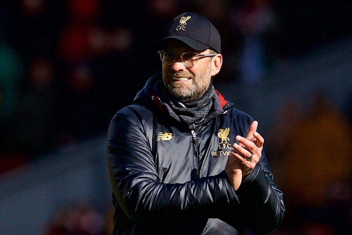LIVERPOOL, ENGLAND - Saturday, March 9, 2019: Liverpool's manager J¸rgen Klopp celebrates after his side's 4-2 victory during the FA Premier League match between Liverpool FC and Burnley FC at Anfield. (Pic by David Rawcliffe/Propaganda)
