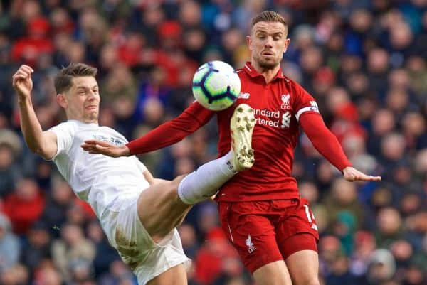 LIVERPOOL, ENGLAND - Saturday, March 9, 2019: Liverpool's captain Jordan Henderson during the FA Premier League match between Liverpool FC and Burnley FC at Anfield. (Pic by David Rawcliffe/Propaganda)