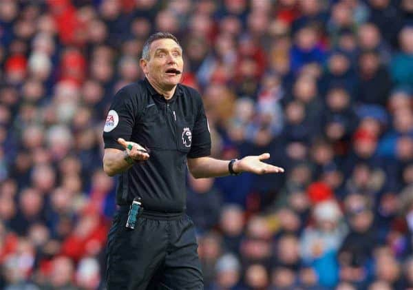 LIVERPOOL, ENGLAND - Saturday, March 9, 2019: Referee Andre Marriner during the FA Premier League match between Liverpool FC and Burnley FC at Anfield. (Pic by David Rawcliffe/Propaganda)
