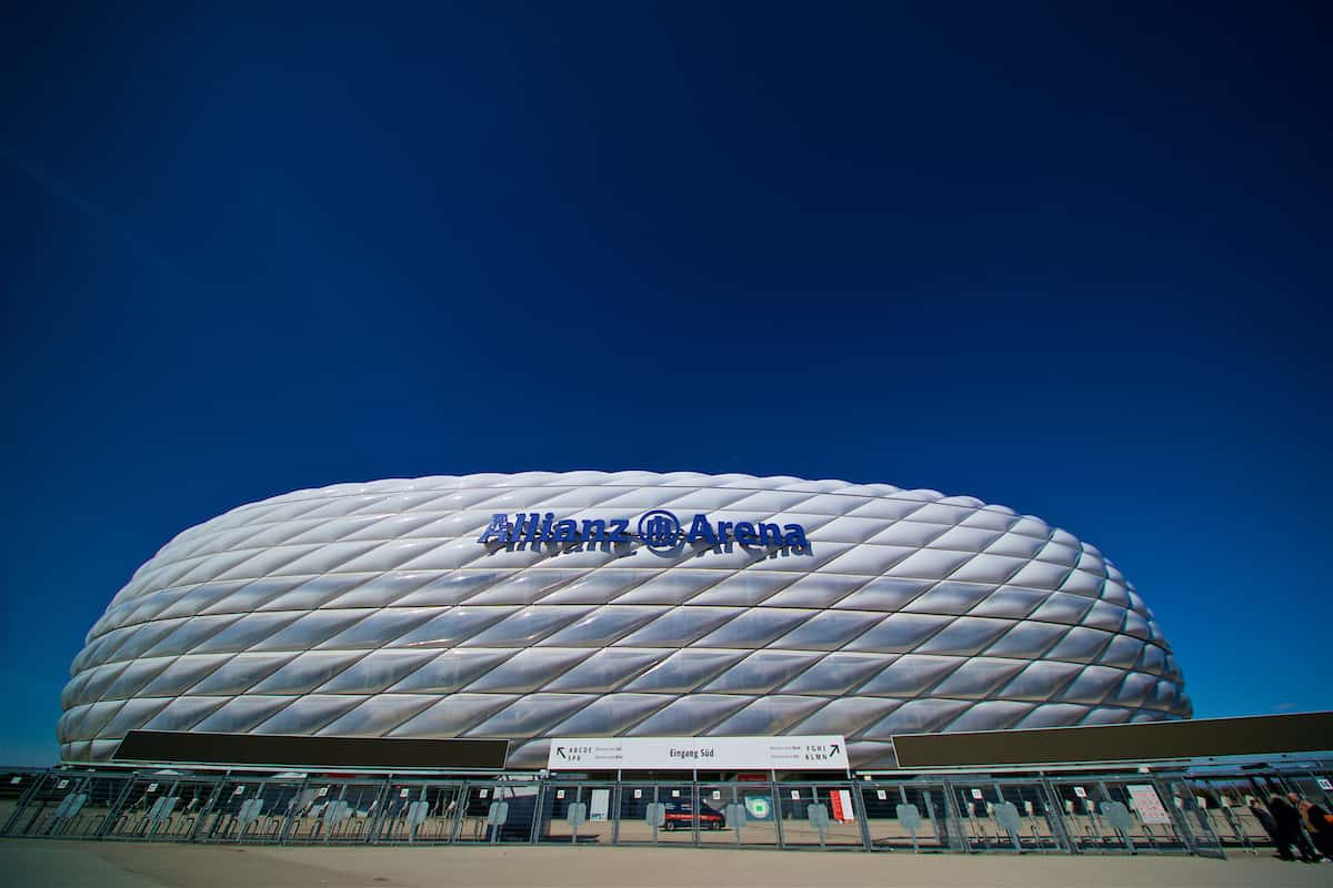 MUNICH, GERMANY - Tuesday, March 12, 2019: A general view of the exterior of the Allianz Arena ahead of the UEFA Champions League Round of 16 2nd Leg match between FC Bayern München and Liverpool FC at the Allianz Arena. (Pic by David Rawcliffe/Propaganda)