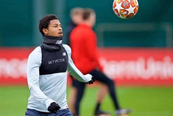 LIVERPOOL, ENGLAND - Tuesday, March 12, 2019: Liverpool's Rhian Brewster during a training session at Melwood Training Ground ahead of the UEFA Champions League Round of 16 1st Leg match between FC Bayern München and Liverpool FC. (Pic by Laura Malkin/Propaganda)