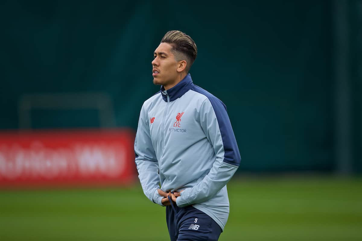 LIVERPOOL, ENGLAND - Tuesday, March 12, 2019: Liverpool's Roberto Firmino during a training session at Melwood Training Ground ahead of the UEFA Champions League Round of 16 1st Leg match between FC Bayern München and Liverpool FC. (Pic by Laura Malkin/Propaganda)