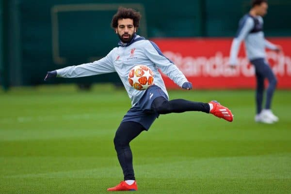 LIVERPOOL, ENGLAND - Tuesday, March 12, 2019: Liverpool's Mohamed Salah during a training session at Melwood Training Ground ahead of the UEFA Champions League Round of 16 1st Leg match between FC Bayern M¸nchen and Liverpool FC. (Pic by Laura Malkin/Propaganda)
