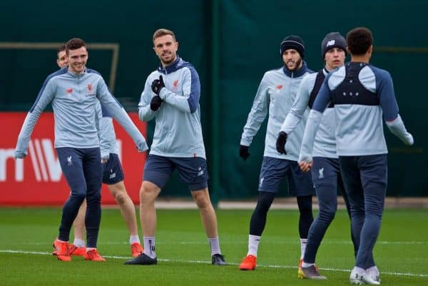 LIVERPOOL, ENGLAND - Tuesday, March 12, 2019: Liverpool's Andy Robertson, captain Jordan Henderson and Adam Lallana during a training session at Melwood Training Ground ahead of the UEFA Champions League Round of 16 1st Leg match between FC Bayern M¸nchen and Liverpool FC. (Pic by Laura Malkin/Propaganda)