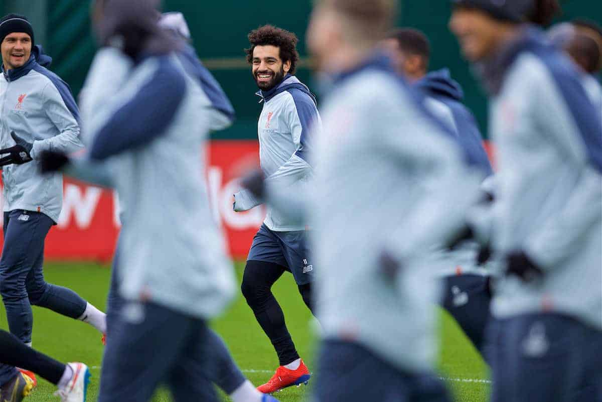 LIVERPOOL, ENGLAND - Tuesday, March 12, 2019: Liverpool's Mohamed Salah during a training session at Melwood Training Ground ahead of the UEFA Champions League Round of 16 1st Leg match between FC Bayern München and Liverpool FC. (Pic by Laura Malkin/Propaganda)