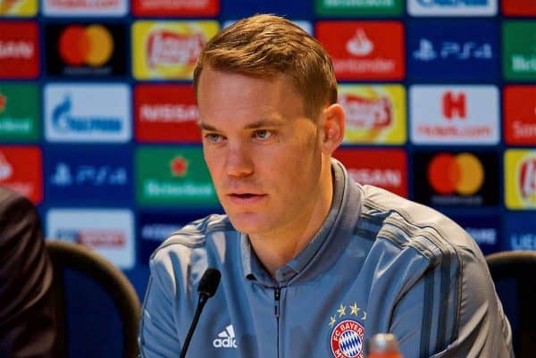 MUNICH, GERMANY - Tuesday, March 12, 2019: FC Bayern Munich's goalkeeper Manuel Neuer during a press conference ahead of the UEFA Champions League Round of 16 2nd Leg match between FC Bayern München and Liverpool FC at the Allianz Arena. (Pic by David Rawcliffe/Propaganda)