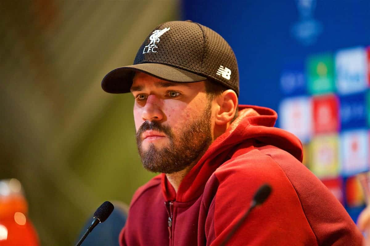 MUNICH, GERMANY - Tuesday, March 12, 2019: Liverpool's goalkeeper Alisson Becker during a press conference ahead of the UEFA Champions League Round of 16 2nd Leg match between FC Bayern München and Liverpool FC at the Allianz Arena. (Pic by David Rawcliffe/Propaganda)