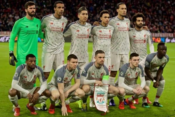 MUNICH, GERMANY - Wednesday, March 13, 2019: Liverpool's players line-up for a team group photograph before the UEFA Champions League Round of 16 2nd Leg match between FC Bayern M¸nchen and Liverpool FC at the Allianz Arena. Back row L-R: : goalkeeper Alisson Becker, Joel Matip, Roberto Firmino, Trent Alexander-Arnold, Virgil van Dijk, Mohamed Salah. Front row L-R: Georginio Wijnaldum, James Milner, captain Jordan Henderson, Andy Robertson, Said Mane. (Pic by David Rawcliffe/Propaganda)