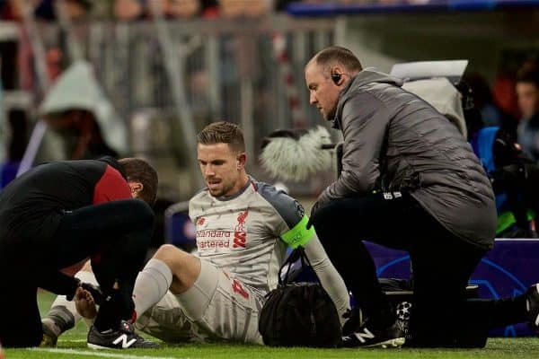 MUNICH, GERMANY - Wednesday, March 13, 2019: Liverpool's captain Jordan Henderson injured during the UEFA Champions League Round of 16 2nd Leg match between FC Bayern M¸nchen and Liverpool FC at the Allianz Arena. (Pic by David Rawcliffe/Propaganda)