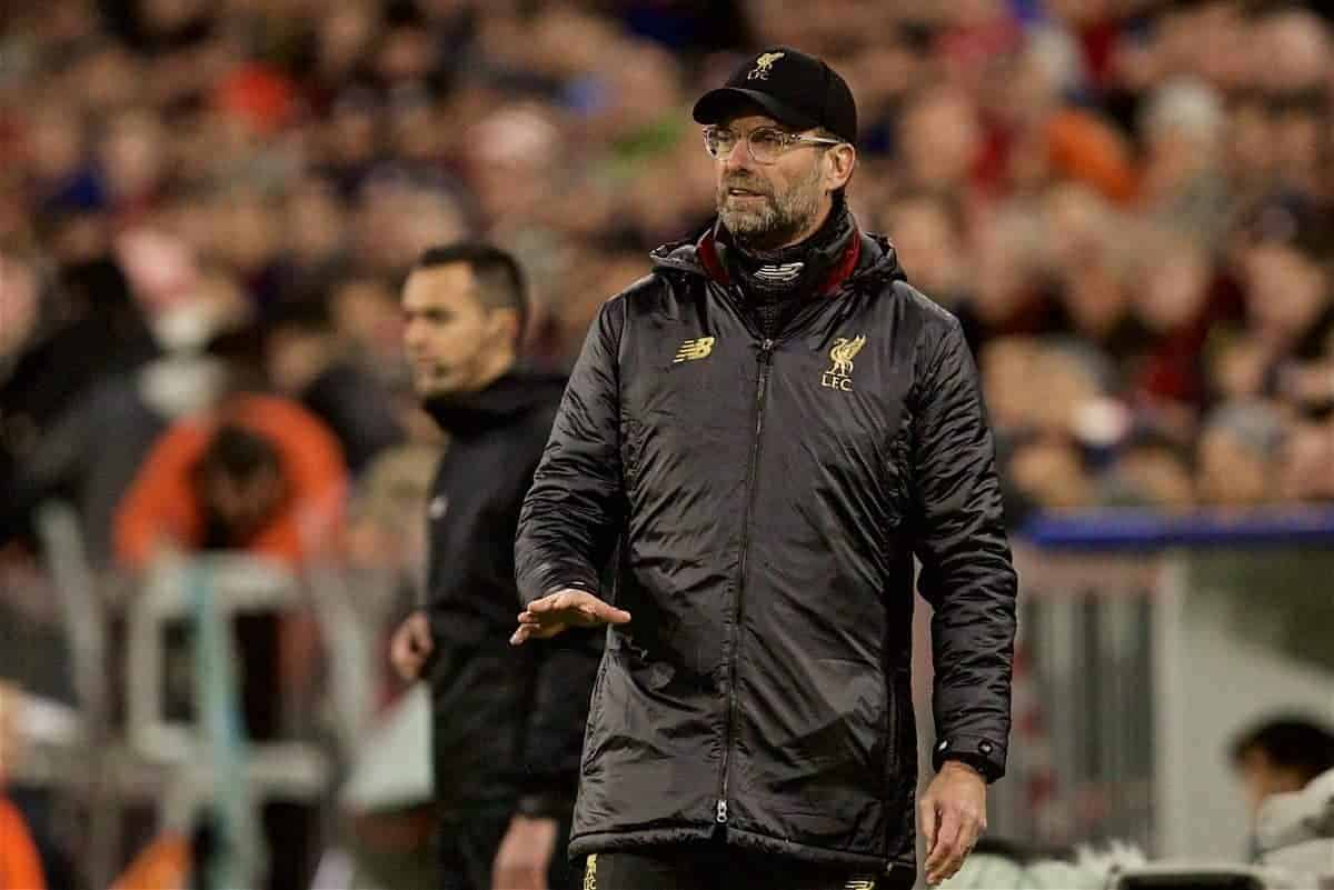 MUNICH, GERMANY - Wednesday, March 13, 2019: Liverpool's manager J¸rgen Klopp reacts during the UEFA Champions League Round of 16 2nd Leg match between FC Bayern M¸nchen and Liverpool FC at the Allianz Arena. (Pic by David Rawcliffe/Propaganda)