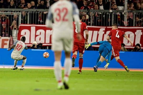 MUNICH, GERMANY - Wednesday, March 13, 2019: Liverpool's Sadio Mane shoots to score the first goal during the UEFA Champions League Round of 16 2nd Leg match between FC Bayern München and Liverpool FC at the Allianz Arena. (Pic by David Rawcliffe/Propaganda)