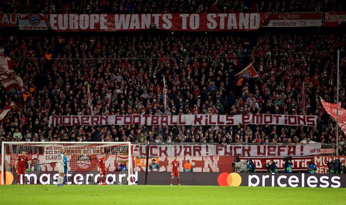 "MUNICH, GERMANY - Wednesday, March 13, 2019: FC Bayern Munich supporters' banner ""quote the two banners""during the UEFA Champions League Round of 16 2nd Leg match between FC Bayern München and Liverpool FC at the Allianz Arena. (Pic by David Rawcliffe/Propaganda)"