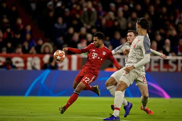 MUNICH, GERMANY - Wednesday, March 13, 2019: FC Bayern Munich's Serge Gnabry scores the first equalising goal during the UEFA Champions League Round of 16 2nd Leg match between FC Bayern München and Liverpool FC at the Allianz Arena. (Pic by David Rawcliffe/Propaganda)