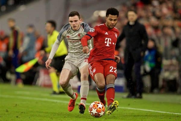 MUNICH, GERMANY - Wednesday, March 13, 2019: Liverpool's Andy Robertson (L) and FC Bayern Munich's Serge Gnabry during the UEFA Champions League Round of 16 2nd Leg match between FC Bayern München and Liverpool FC at the Allianz Arena. (Pic by David Rawcliffe/Propaganda)