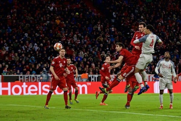 MUNICH, GERMANY - Wednesday, March 13, 2019: Liverpool's Virgil van Dijk scores the second goal during the UEFA Champions League Round of 16 2nd Leg match between FC Bayern M¸nchen and Liverpool FC at the Allianz Arena. (Pic by David Rawcliffe/Propaganda)