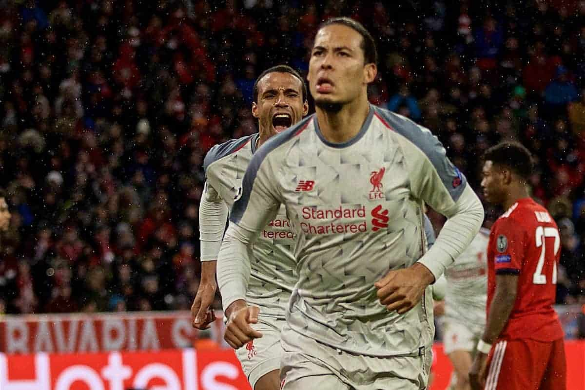 MUNICH, GERMANY - Wednesday, March 13, 2019: Liverpool's Virgil van Dijk celebrates scoring the second goalduring the UEFA Champions League Round of 16 2nd Leg match between FC Bayern München and Liverpool FC at the Allianz Arena. (Pic by David Rawcliffe/Propaganda)