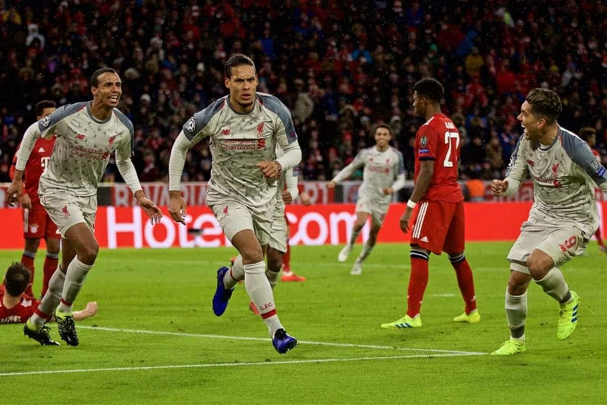 MUNICH, GERMANY - Wednesday, March 13, 2019: Liverpool's Virgil van Dijk celebrates scoring the second goal during the UEFA Champions League Round of 16 2nd Leg match between FC Bayern M¸nchen and Liverpool FC at the Allianz Arena. (Pic by David Rawcliffe/Propaganda)