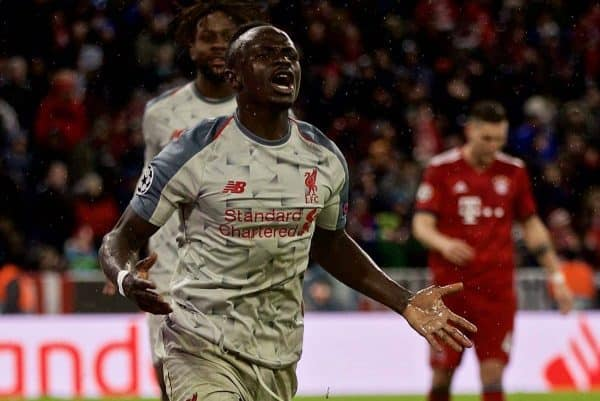 MUNICH, GERMANY - Wednesday, March 13, 2019: Liverpool's Sadio Mane celebrates scoring the third goal during the UEFA Champions League Round of 16 2nd Leg match between FC Bayern M¸nchen and Liverpool FC at the Allianz Arena. (Pic by David Rawcliffe/Propaganda)