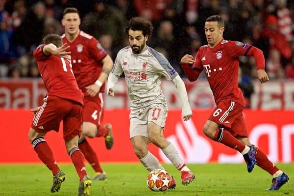 Liverpool's Mohamed Salah during the UEFA Champions League Round of 16 2nd Leg match between FC Bayern M¸nchen and Liverpool FC at the Allianz Arena. (Pic by David Rawcliffe/Propaganda)