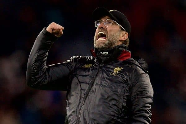 MUNICH, GERMANY - Wednesday, March 13, 2019: Liverpool's manager Jürgen Klopp celebrates 3-1 victory over FC Bayern Munich after the UEFA Champions League Round of 16 2nd Leg match between FC Bayern München and Liverpool FC at the Allianz Arena. (Pic by David Rawcliffe/Propaganda)