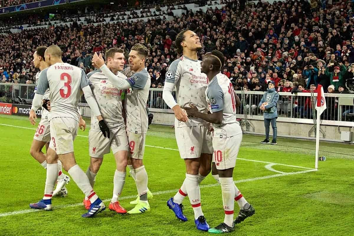 MUNICH, GERMANY - Wednesday, March 13, 2019: Liverpool's Virgil van Dijk celebrates scoring the third goal during the UEFA Champions League Round of 16 2nd Leg match between FC Bayern M¸nchen and Liverpool FC at the Allianz Arena. (Pic by David Rawcliffe/Propaganda)