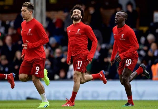 LONDON, ENGLAND - Sunday, March 17, 2019: Liverpool's Roberto Firmino (L), Mohamed Sala(C) and Sadio Mane (R) during the pre-match warm-up before during the FA Premier League match between Fulham FC and Liverpool FC at Craven Cottage. (Pic by David Rawcliffe/Propaganda)