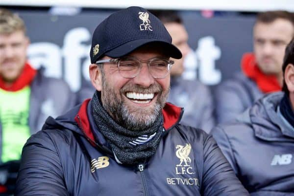 LONDON, ENGLAND - Sunday, March 17, 2019: Liverpool's manager Jürgen Klopp before during the FA Premier League match between Fulham FC and Liverpool FC at Craven Cottage. (Pic by David Rawcliffe/Propaganda)