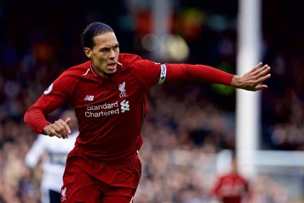 LONDON, ENGLAND - Sunday, March 17, 2019: Liverpool's captain Virgil van Dijk during the FA Premier League match between Fulham FC and Liverpool FC at Craven Cottage. (Pic by David Rawcliffe/Propaganda)