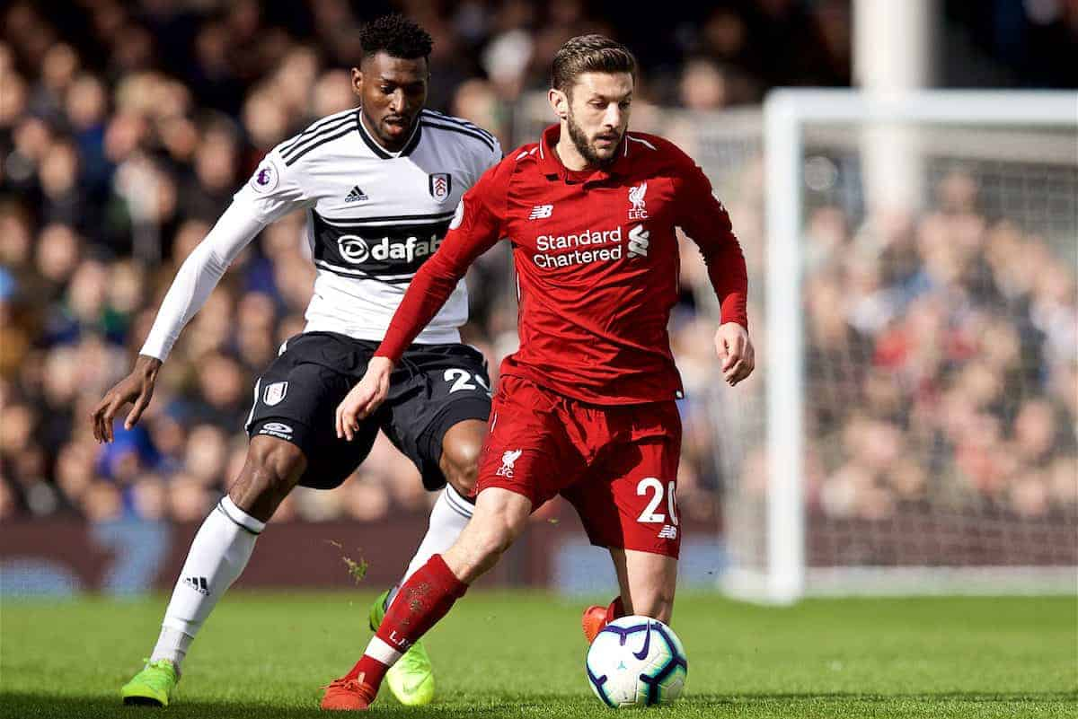 LONDON, ENGLAND - Sunday, March 17, 2019: Liverpool's Adam Lallana during the FA Premier League match between Fulham FC and Liverpool FC at Craven Cottage. (Pic by David Rawcliffe/Propaganda)