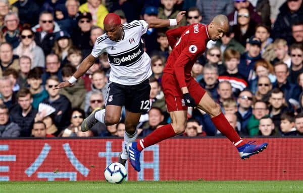 LONDON, ENGLAND - Sunday, March 17, 2019: Fulham's Ryan Babel (L) and Liverpool's Fabio Henrique Tavares 'Fabinho' during the FA Premier League match between Fulham FC and Liverpool FC at Craven Cottage. (Pic by David Rawcliffe/Propaganda)
