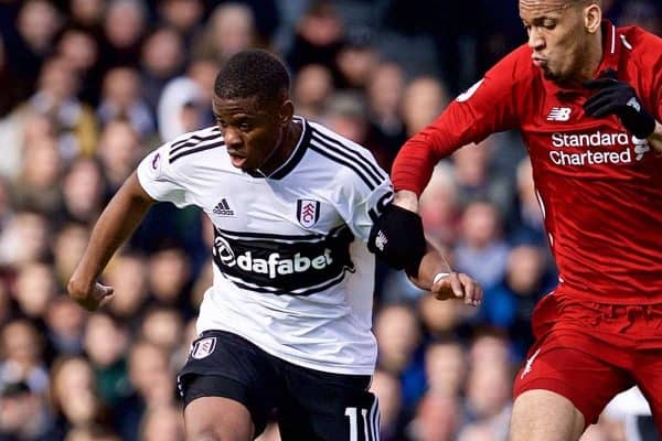 LONDON, ENGLAND - Sunday, March 17, 2019: Fulham's Floyd Ayité (L) and Liverpool's Fabio Henrique Tavares 'Fabinho' (R) during the FA Premier League match between Fulham FC and Liverpool FC at Craven Cottage. (Pic by David Rawcliffe/Propaganda)
